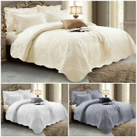 Embroidered Quilted Cotton Bedspread Bed Throw Single Double King Bedding Set