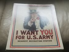 "Vintage Poster ""I Want You for U.S. Army"" Card Stock Sign, 11"" x 14"""