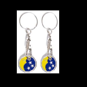 2 X STAR MOON New Shape One Pound £1 Coin Token Keyring Shopping Trolley Gift