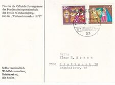 Alemania Occidental 1972 Postal de Navidad FDC en muy buena condición