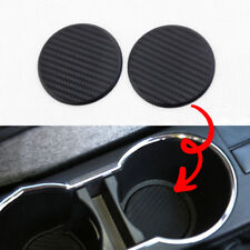 2x Black Car Vehicle Water Cups Slot Non-Slip Carbon Fiber Look Mat Accessories