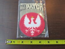 POLAND EAGLE POLISH RED SHIELD POLSKA CREST SILVER EMBROIDERED SEW ON PATCH