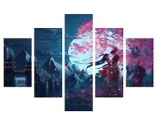 CHERRY BLOSSOM ANIME LOVERS TREE 5 SPLIT PANEL WALL ART CANVAS PICTURE PRINTS