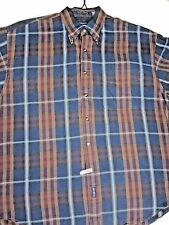 Gant  Mens  Shirt sz Large Blue Plaid Linen Blend Short Sleeve B/D