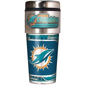 Miami Dolphins NFL 16 oz Travel Tumbler w/ Metal Emblem