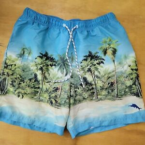 TOMMY BAHAMA MEN'S FLORAL RELAXED MESH LINED SWIM BEACH SHORTS SIZE M