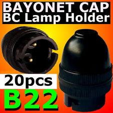 20 pcs B22 Lamp Holder Bayonet Cap BC Bulb Light Fitting Accessories 240V BLACK