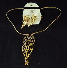 "Owls  Gold Necklace &  Earrings Set, Owls w/Split Bodies 29"" chain"