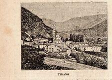 Stampa antica TIRANO piccola veduta Valtellina Sondrio 1899 Old print