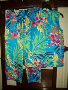 NWT N NATORI PAJAMAS PJ SET slvless TOP TROPICAL POLY SATIN WC6003 MULTI M