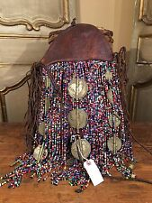 Free People Anthropologie Women's Nigerian Lthr Crossover Tote Beaded Bag Purse