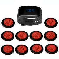 SINGCALL Wireless Waiter Calling System Restaurant 1 Waterproof Watch,10 Pagers