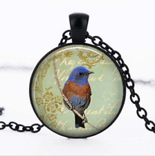 bluebird necklace bird Black Glass Cabochon Necklace chain Pendant Wholesale