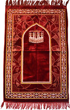 Prayer Rug Carpet Islamic Muslim Salah Meditation Mat Turkish Plush Portable Red