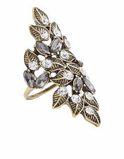 NEW NWT MONSOON ACCESSORIZE CRYSTAL LEAF STATEMENT RING M MEDIUM