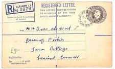 An233 1953 Gb Scotland Glasgow *Dalmallock Road* Cds Registered Stationery Env
