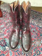 EUC Lucchese Burgundy Calf Leather Roper Cowboy Boots - US Size 12 B (Mens)