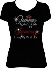 Queens are Born in January Living Bling Shirt, Birthday Bling, Birthday Shirt