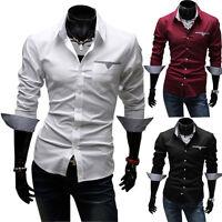 Men's Slim Fit Shirt Top Long Sleeve Formal Business Groom Dress Casual Shirts