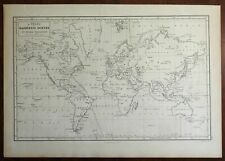 Chart of Magnetic Curves World Map 1854 Peter Barlow enagraved map
