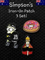 Set of 3 Simpsons Bart Homer Donut Iron On Patch Embroidered TV CARTOON MOVIE
