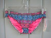 Sundazed Womens Medium 8 10 Mermaid RF Bikini Swim Bottoms Pink Blue Black Aztec