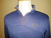 Under Armour Cold Gear Mens Pullover Sweatshirt Sweater MEDIUM Loose Blue Zip
