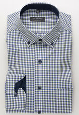 Eterna Comfort Fit Hemd kariert blau weiß grün langarm bügelfrei Button Down