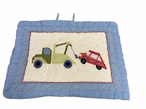 Pottery Barn Kids Blue Tow Truck Red Car Quilted Standard Pillow Sham
