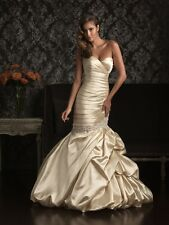 ALLURE WEDDING DRESS #9007 STRAPLESS MERMAID WITH CRYSTALS  IVORY GOWN SIZE 8