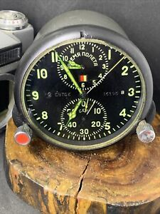 "Soviet AirForce Panel Cockpit Clock ACS-1 ""В"" / AChS-1 В"" for Su/MiG jets #36195"