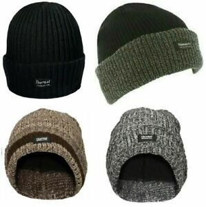 Mens Knitted  Thinsulate Warm Winter Wooly Outdoor Chunky Hat Thermal Beanie Ski