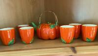VINTAGE FALL JAPAN CERAMIC PUMPKIN TEA SET TEAPOT With (SET Of 6) Cups