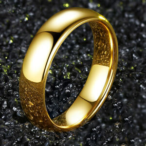 Smooth Gold Rings Band Ring for Womens Mens 18K Gold Plated Ring Jewelry Size 6