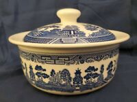 JOHNSON BROTHERS BLUE WILLOW COOKWARE COVERED CASSEROLE.  NEW WITH TAG!