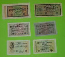 6 BANKNOTEN / INFLATIONS - GELDSCHEINE / REICHSBANK / WEIMARER REPUBLIK /Pack 19