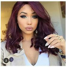 Korean 99J Wine Red Wavy Short Bobo Synthetic Lace Front Heat Resistant Wig+Cap