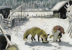 Postkarte:Wiberg -  Tomte und der Fuchs im Schnee