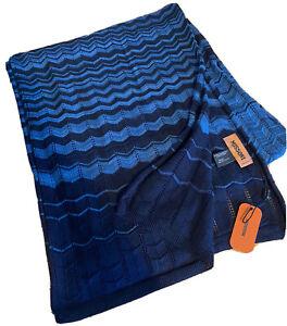 Missoni Scarf 100% Cotton 40cm x 180cm Navy/Blue BNWT RRP £345 Amazing