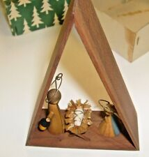 Vintage Christmas Decoration Baby Jesus in Manger scene from Italy -  wood.  /x1