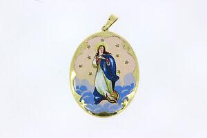 8712-585er Gelbgoldanhänger mit Heiliger Maria auf Porzellan lang 4 breit 3 cm