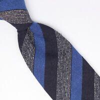 Gladson Mens Wool Slub Silk Necktie Blue Navy White Stripe Weave Woven Tie Italy