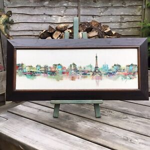 Old Vintage Contemporary Framed Paris Skyline Canvas Oil Painting Signed M Dyme