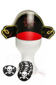 Piratenparty Set 12 x Piraten Hut + 12 Augenklappen Mottoparty Kindergeburtstag
