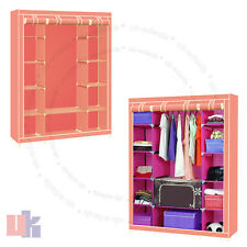 New Pink Triple Multiple Portable Canvas Wardrobe With Hanging Rail Storage UKED