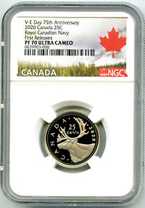 2020 CANADA 25 CENT V-E-DAY VE-DAY NAVY PROOF NGC PF70 QUARTER FIRST RELEASES