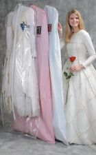"""Bridal Gown Wedding Dress Storage Bag White Vinyl 72"""" Long with a 10"""" Gusset"""
