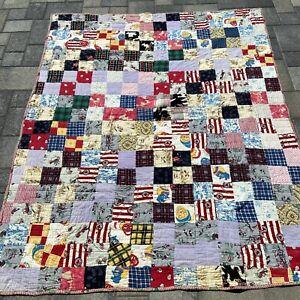 VINTAGE Flannel Patchwork Throw Blanket 80 x 65 Doll Snowmen Deer Bird 2 Sided