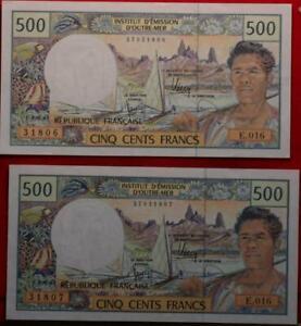 Uncirculated Tahiti 500 Francs Notes P-25