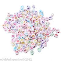 GS: 500 Mix Acryl Mehrfarbig Buchstaben Spacer Perlen Beads Weiß Herz 6.8x6.5mm